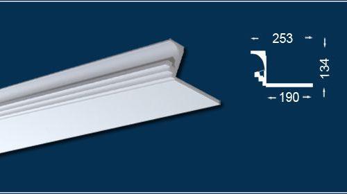 Rejtett világítás kivitelezéséhez használatos díszléc méretei technikai rajzon.