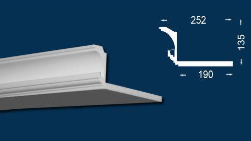 Rejtett világítás beépítéséhez használatos díszlécek méreteit ábrázoló technikai rajz.