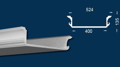 Rejtett világításhoz használt díszlécek méreteit bemutató technikai rajz.