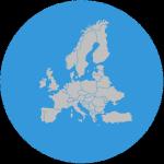 illusztráció Európa vaktérképe kék körben