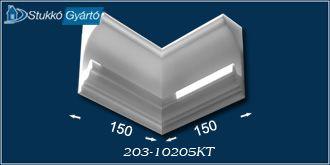 Rejtett világítás beépítéséhez használatos karnis takaró méreteit ábrázoló technikai rajz.